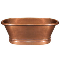 Handmade copper double ended freestanding bathtub with hammered exterior, lightly hammered interior and no overflow