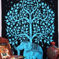 Elephant Tree Tapestry , Good Luck Tie Dye Elephant Tapestry, Hippie Hippy Tapestry, Bohemian Wall Hanging, Elephant Tapestries , Hippie Tapestry , Tree of Life Tapestries , Wall Tapestries