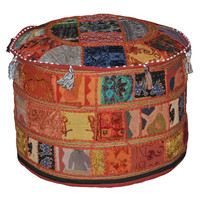 Bohemian Patch work pouf ottoman vintage indian pouf floor foot stool Traditional Decorative Ottoman Comfortable Cushion Cover  58 X 33 Cm