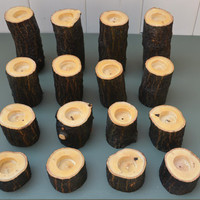 Set of 12 Rustic Wood Candle Holders Tree by BackYardRusticWood