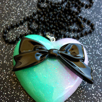 Pastel Goth Bow Pendant - Sweet Lolita Jewelry - Gothic Lolita Necklace - Resin Bow Pendant - Black Bow - Ombre Colors - Pastel Accessory