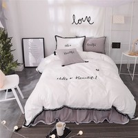White grey color lady style thick cotton Bedding Sets Twin Full Queen King size girls kids warm bed skirt duvet cover set 4/6pcs