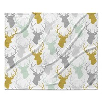 "Pellerina Design ""Scattered Deer White"" Gold Green Fleece Throw Blanket"
