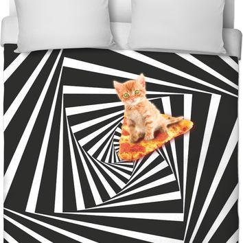 Down The Cat Hole Duvet Cover