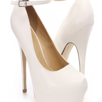 White Ankle Strap Platform Heels Faux Leather-5.5
