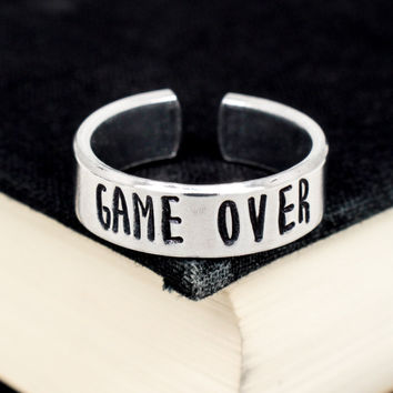 Game Over Ring - Video Game Jewelry - Adjustable Aluminum Cuff Ring
