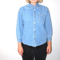 small denim blouse 90s GAP soft pale chambray button up shirt
