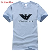Giorgio Armani New fashion bust letter print couple top t-shirt 1# Light Blue