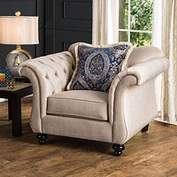 Luxurious Chesterfield Inspired Design Chair, Ivory By Casagear Home