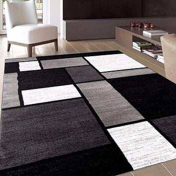 Alpine Modern Boxes Grey Area Rugs