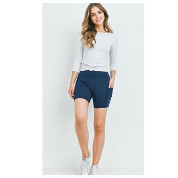 Cozy Navy Biker Athletic Shorts with Side Pocket