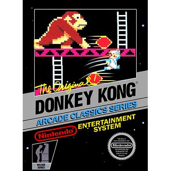 Retro Donkey Kong Game Poster//NES Game Poster//Video Game Poster//Vintage Game Cover Reprint