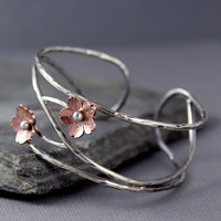 Cherry Blossom Cuff, Adjustable, Spring jewelry, Statement jewelry, Statement cuff, Bold Bracelets, Sakura, Mothers day Gifts, Arm jewelry