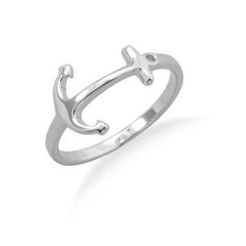 Sterling Silver Sideways Thin Band Anchor Ring