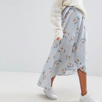 J.O.A Wrap Front Midi Skirt With Tie In Vintage Floral at asos.com