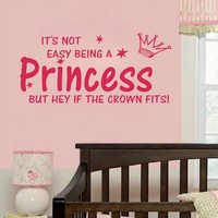 NOT EASY BEING A PRINCESS girl wall quote sticker graphic vinyl home kid decor:Amazon:Home & Kitchen