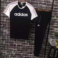 Adidas Men Women Casual Print Short Sleeve Top Pants Suit Two-Piece Sportswear Black