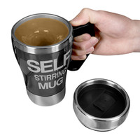 Evelots Push Button Battery Operated Self Stirring Travel Mug,Beverage Cup,Black