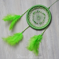 Green Dream Catcher with Love Stone - Prehnite, Ligth Green Dream Catcher, Beaded Dreamcatcher