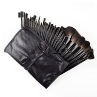 32 Pcs Black Rod Makeup Brush Cosmetic Set Kit with Case:Amazon:Beauty