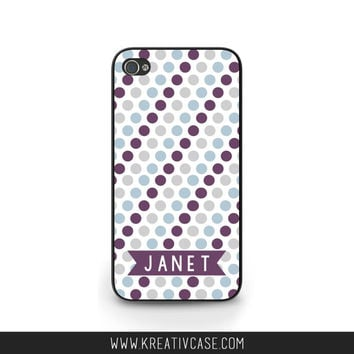 Monogrammed iPhone Case, iPhone 4, iPhone 4S, Purple and Blue Dots, Personalized Phone Cover, also for Samsung and Blackberry - K299