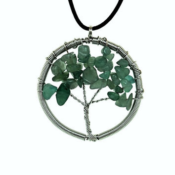Tree of Life Aventurine Wire Wrapped Spiritual Necklace
