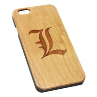L Deathe Note Logo Anime Wood EngravediPhone 6s Case iPhone 6 Case iPhone 6s 6 Plus Cover Natural Wooden iPhone 5s 5 Case Samsung Galaxy S6 S5 Case D128