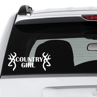 Country Girl with Doe Heads Cut Vinyl Decal, Car Window Decal, Car Sticker - Hot Topic Decals