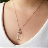 BeadyBoutique Stonehenge Necklace - Silver - Clear Crystal