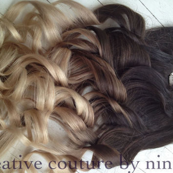 """Ombre Hair Extensions//DipDye//Dark Brown Hair and Wheat Blonde Fade//(7) Pieces//22""""//Double Wefted"""