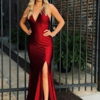 Evening Dresses Burgundy Slit Backless Prom Dresses