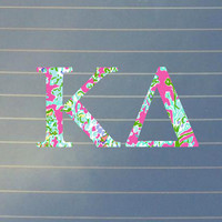 Lilly Pulitzer Inspired Kappa Delta Car Decal   Kappa Delta Car Sticker   Kappa Delta Sorority Decal   Greek Decals   Greek Stickers   156