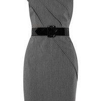 Discount Mikael Aghal Belted crepe shift dress THE OUTNET