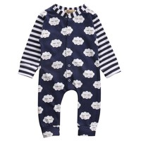 Cute Baby Boy Girl Clothes Long Sleeve Cotton Shy cloud Print Striped Baby Romper Jumpsuit Baby Clothes Outfits
