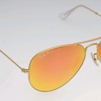New RayBan Aviator Sunglasses polarize flash orange color Mirror58mm r3025