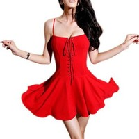 Etosell Lady Sexy Short Mini Party Dress Slim Homecoming Prom Cocktail Dress Red
