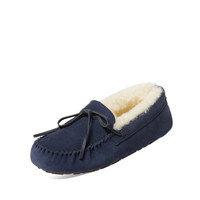 Atwell Women's Ainsley Suede & Sheep Fur Moccasin - Dark Blue/Navy