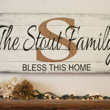 Personalized Name Sign Custom Wood Sign Family Name Sign Wedding Gift Bridal Shower Gift Housewarming Gift Shabby Chic Wall Decor Home Decor
