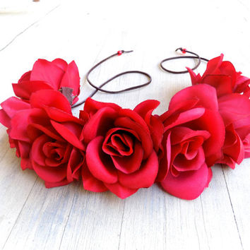 The Bertha flower crown, gorgeous red rose headband OR hat band!