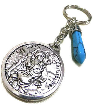 St. Christopher Charm/Keyring with Turquoise Gemstone,St Christopher KeyChain,Bag Charm,Protection Keyring,Turquoise Keyring,Friendship Gift