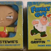 Lot 2 Family Guy TV Stewie World Domination Peter Griffin Giant Chicken Figure