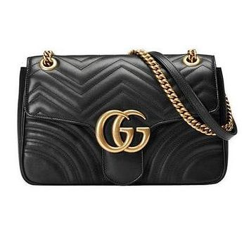 Gucci Fashion Casual Black Leather Shoulder Bag G