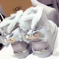 UGG : girl Large bow tie Keep warm Snow boots-19