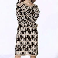 FENDI New Trending Women Stylish Double F Letter Knit Long Sleeve Dress