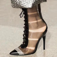 The new style glass glue cut-out boots with pointed toe