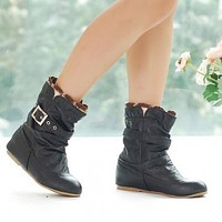 Lacing Women Ankle Boots Buckle Soft Leather Wedges Shoes Woman 2016 3378