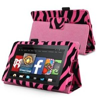 Walmart: INSTEN For 2014 Amazon Kindle Fire HD 6 Folio Leather Case Smart Cover Stand Hot Pink Zebra