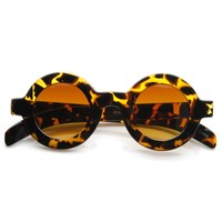 Retro Fashion Bold Frame Horned Rim Round Circle Sunglasses