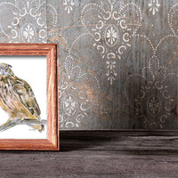 Horned Owl Watercolor Painting - 5 x 7 - Giclee Print Reproduction - Woodland animal