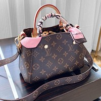 LV Montaigne bag LOUISVUITTON color-changing leather large space monogram bag pink scarf